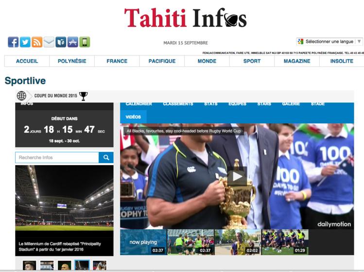 Suivez la coupe du monde du Rugby en « blog live » sur TAHITI INFOS