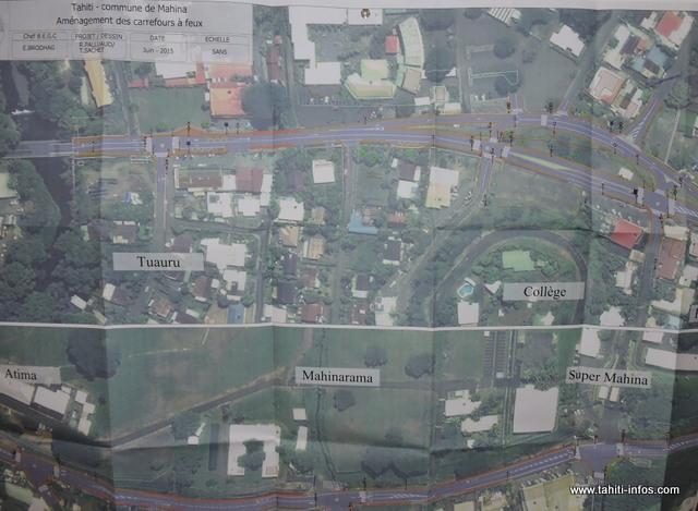 Cinq carrefours seront installés à Mahina. Un, à la sortie de la Tuauru ; deux, au collège de Mahina ; un, à la descente de Mahinarama et le dernier, à la descente de Supermahina. Les travaux devraient démarrer avant la fin de l'année