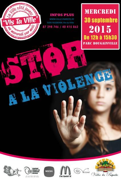 """L'affiche de cette nouvelle édition avec pour thème, """"Stop à la violence""""."""