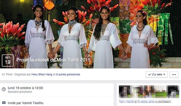 """Pour assurer leur déplacement à Paris, les dauphines de Miss Tahiti 2015, organisent des ventes de plats sur une page privée de facebook. """"Nous n'avons pas voulu organiser une grande vente de plats parce que cela risquerait de nous demander trop de travail à gérer. Donc, nous avons décidé de nous rapprocher de nos amis sur facebook"""", explique Heru Shan Hang, Miss Heiva, et de poursuivre, """"c'est vrai qu'il y a du monde qui nous propose leur aide, ils peuvent toujours nous laisser des messages de soutien sur nos pages officielles de facebook""""."""
