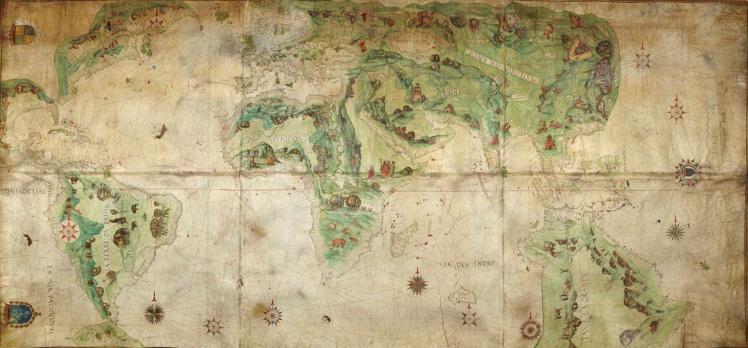 La mappemonde Dauphin (1547), avec une représentation (à droite du document) de l'Australie, appelée Jave La Grande.