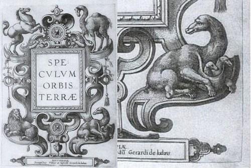 """Le frontispice de l'atlas """"Speculum Orbis Terrae"""", du Hollandais Cornelis de Jode, publié en 1593. Sur la partie gauche du document, on distingue, pour symboliser les quatre continents connus, un cheval (en haut à droite), un chameau (en haut à gauche), un lion (en bas à droite) et un kangourou (en bas à droite). Sur la partie droite de notre document, un gros plan sur le kangourou de 1593, portant ses deux petits dans sa poche, facile à distinguer."""