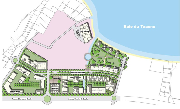 Une vue de la première phase du projet d'aménagement urbain de Pirae sur le site de Aorai Tini Hau pour les dix prochaines années. Entre 2016 et 2017, il y aura la création de l'esplanade littorale et de l'allée centrale.