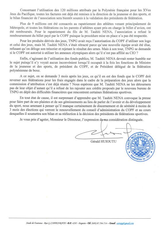 Affaire TNPG – L'Association Tahiti Nui Pacific Games réagit