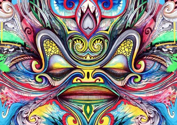 Les tiki et les motifs polynésiens sont toujours omniprésents dans les œuvres de John.