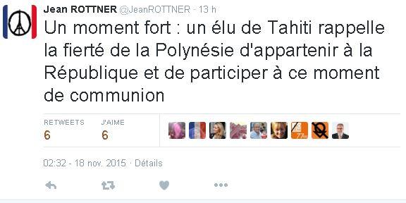 Dans un Tweet, Jean Rottner, maire de Mulhouse souligne l'engament de Tearii Alpha.