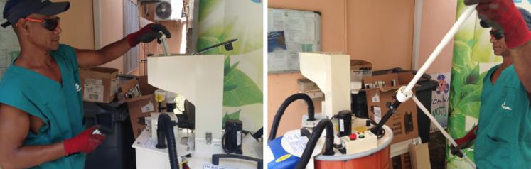 Cette machine broie les néons et ampoules à basse consommation. Le mercure est récupéré grâce à un filtre