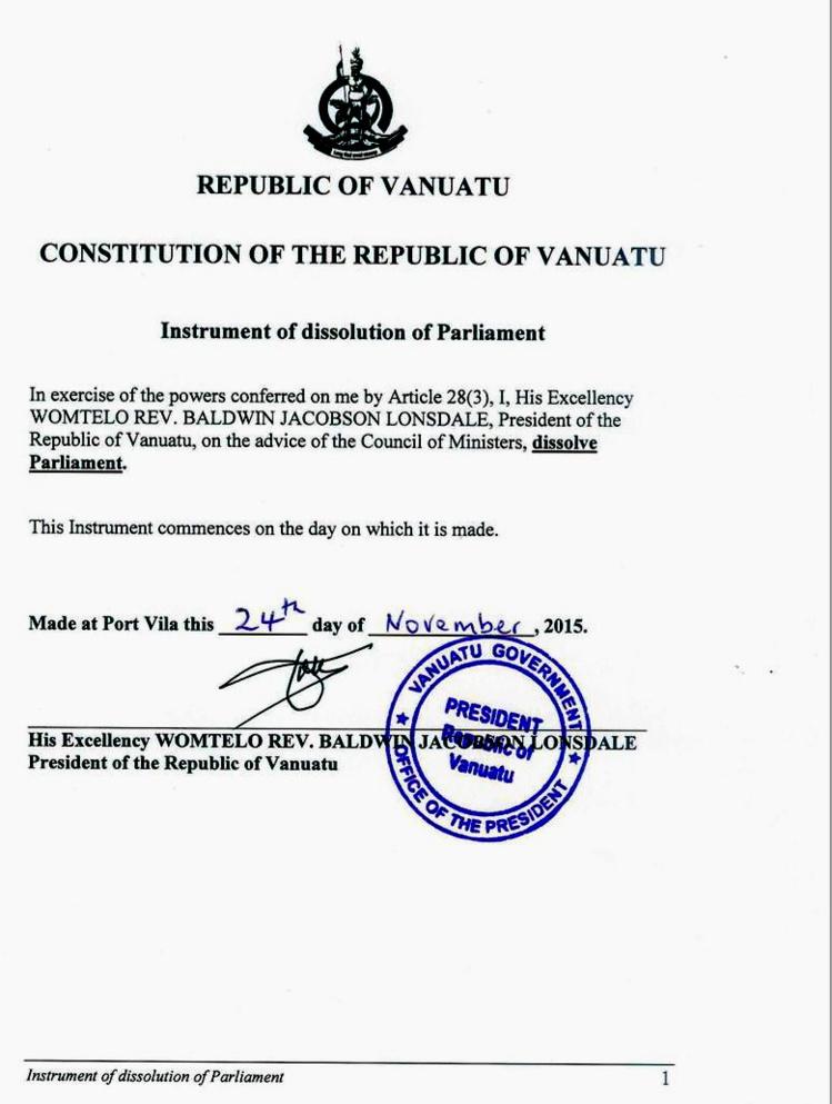 Le Président de Vanuatu dissout un Parlement gangréné par la corruption