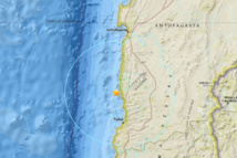 Très fort tremblement de terre côtier dans la région d'Antofagasta  au  Chili