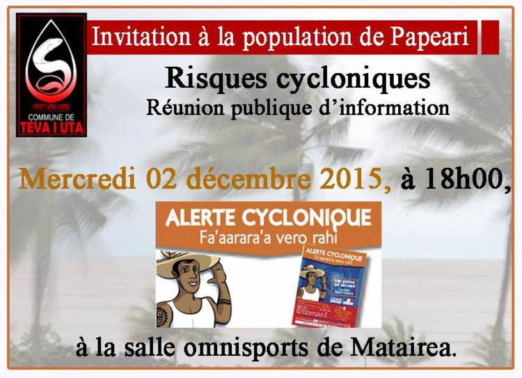 Teva i Uta : Une réunion publique sur les risques cycloniques se tiendra mercredi prochain