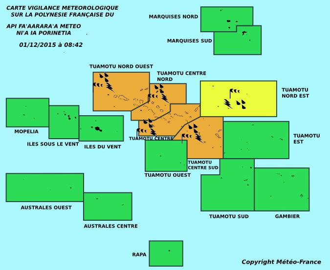 Météo France: la vigilance s'étend sur l'ensemble des Tuamotu (MAJ)