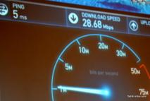 Le test fait par Vini lors de la conférence de presse : aucun autre utilisateur sur le réseau et serveur de test local. Mais le débit promis était là...