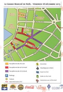Le plan des zones piétonnes de vendredi soir