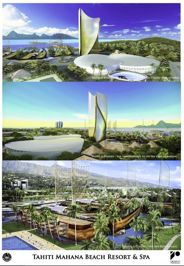 Le projet sera réalisé sur la base des esquisses conçues par l'architecte hawaiien Group 70, validées en juillet 2014.
