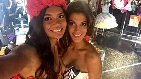 Vaimiti Teiefitu, aux côtés de Miss France 2016. Photo : Facebook Vaimiti Teiefitu