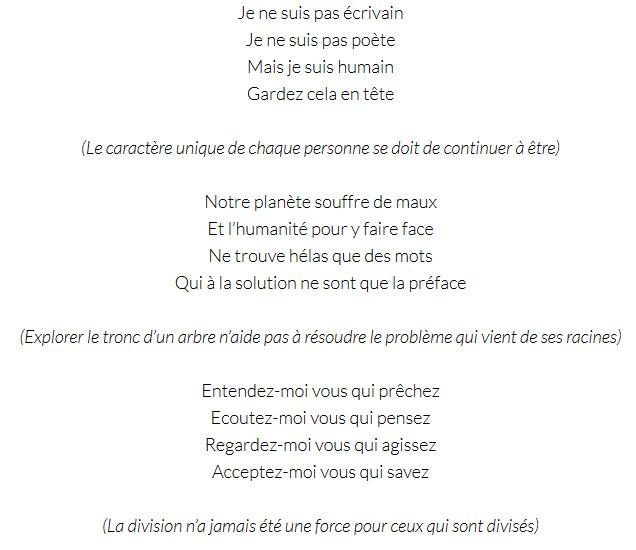 """La poésie pour un """"coup de gueule pacifique"""""""