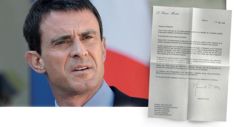 Le Premier ministre Manuel Valls assure que la DGA sera maintenue à 84 millions d'euros cette année, en réponse à la question écrite que lui avaient adressée les sénateurs polynésiens, début décembre.