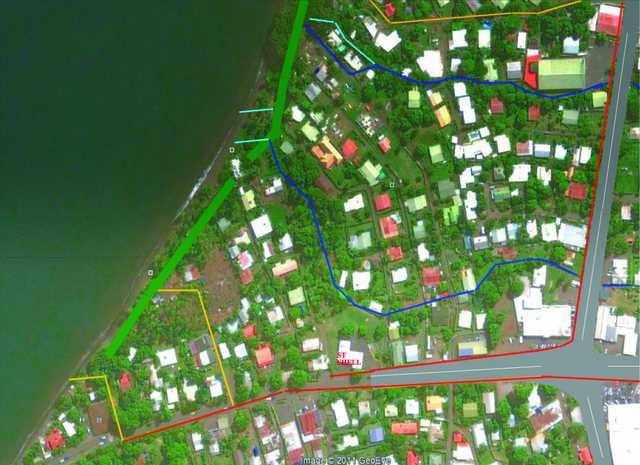 Le président de No te Aru Tai Mareva, Denis Helme souhaiterait que les bras existants de la rivière (en bleu sur la photo) soit réaménagés pour mieux permettre l'évacuation des eaux pluviales