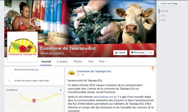 La commune de Taiarapu-Est sur Facebook