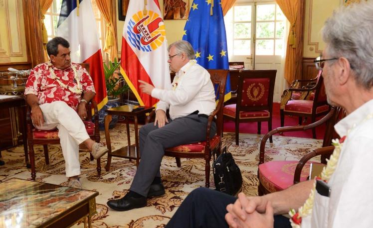 Edouard Fritch reçoit l'ambassadeur Lechervy, secrétaire permanent pour le Pacifique