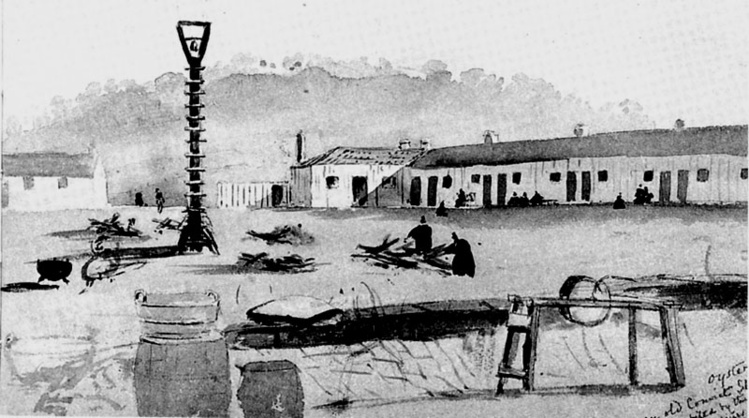 Le mouroir des derniers Tasmaniens, Oyster Cove, et ses bâtiments lépreux, au sud-est de la Tasmanie.