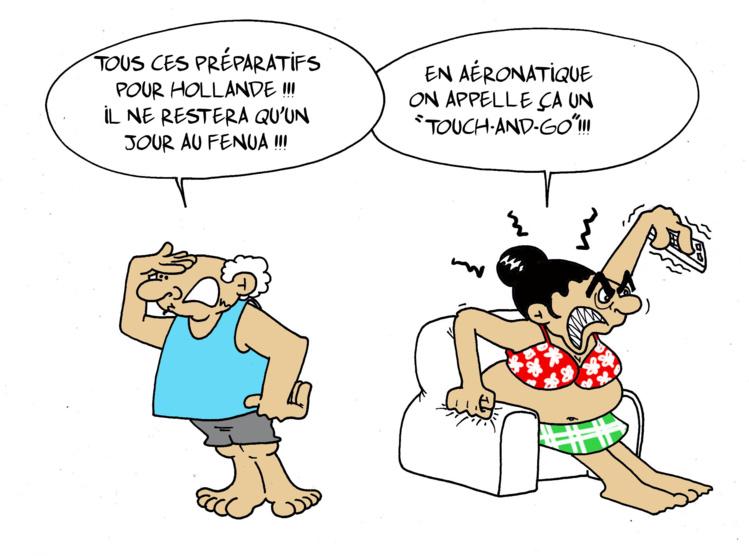 """"""" Le touch-and-go de Hollande"""" par Munoz"""