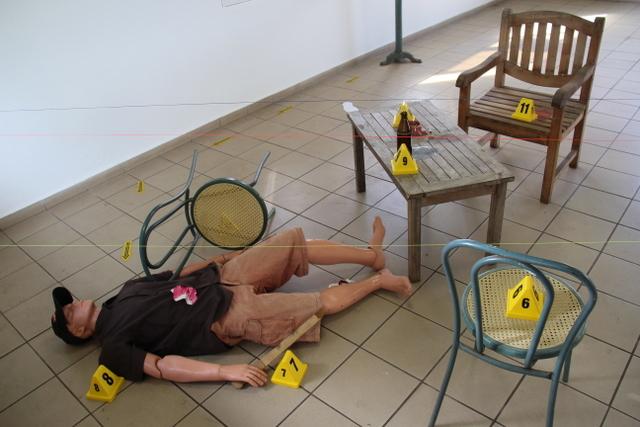 La scène de crime reconstituée pour l'occasion.