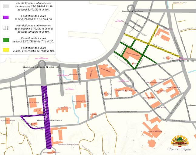 Visite de François Hollande : plan de circulation et de stationnement à Papeete, lundi