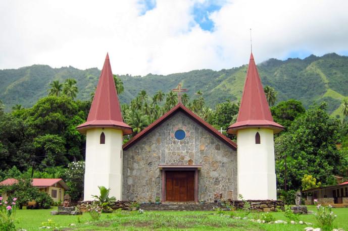 Eglise des Sacrés-Cœurs à Hatiheu, Nuku Hiva, Marquises