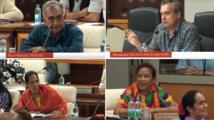 Captures d'écran lors du débat jeudi dernier à l'assemblée de Polynésie.