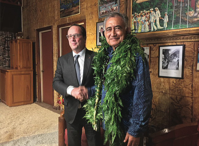 Oscar Temaru recevait lundi dernier François Hollande, son ami de 15 ans à la mairie de Faa'a