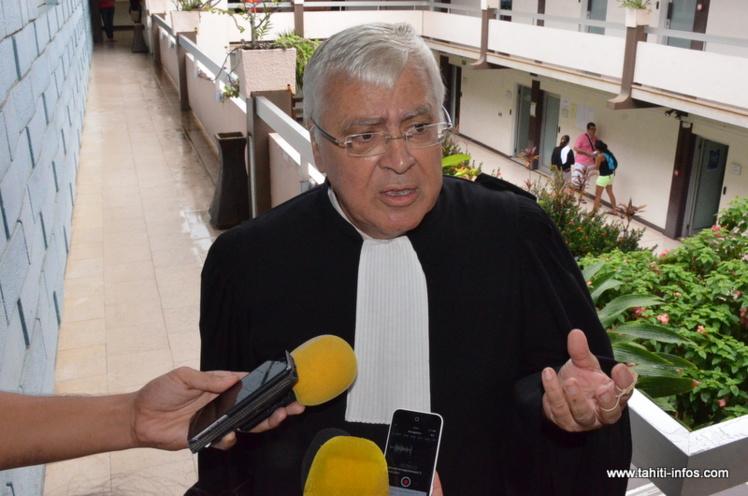 Maître François Quinquis, mardi matin au palais de justice de Papeete.