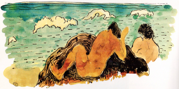 Ruahatu et le déluge, aquarelle de Paul Gauguin rajoutée dans Noa Noa en 1895.