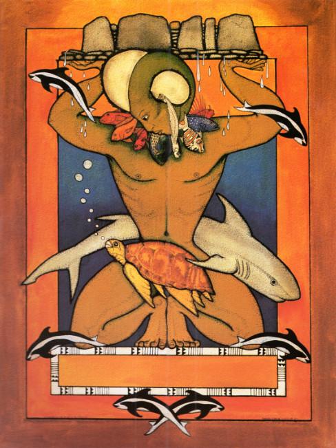 Ruahatu, le dieu de l'océan, œuvre de Bobby Holcomb (1985).