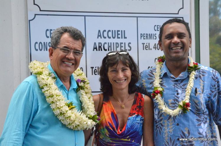 Catherine Carlotti, ici en compagnie du président Fritch et de Tearii Alpha, ministre du Logement. (Photo d'archives : 9 mars 2015)