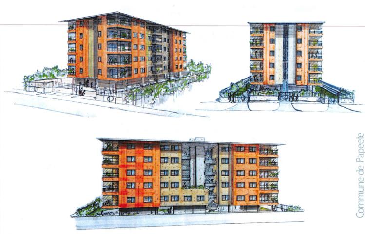 L'immeuble situé sur le cours de l'Union sacrée à Fariipiti intègre 25 logement du F2 au F4.