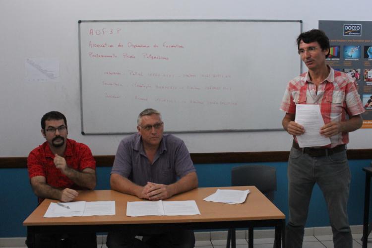 De gauche à droite : Patrick Lopez-Diot, directeur des Cours Bufflier, trésorier de l'AOF3P, Christophe Borderie, directeur de Conform HSCT, secrétaire de l'association et Arnaud Lozinguer, directeur de Docéo Formation et président de l'AOF3P.