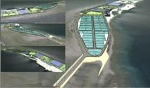 Simulation de la perception visuelle du complexe aquacole de Tahiti Nui Ocean Foods pour un passager aérien qui arrive à Hao.