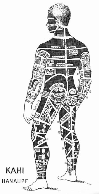 Tatouages marquisiens. Illustration de Kahi pour von den Steinen