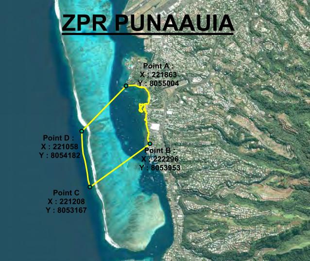 Les zones de pêche réglementée (ZPR) sont des portions délimitées où des règles de pêche spécifiques sont instaurées. Elles constituent un outil efficace pour faire face aux risques de surexploitation des lagons en réduisant les pressions de pêche. Ici, la Pointe Tata'a.
