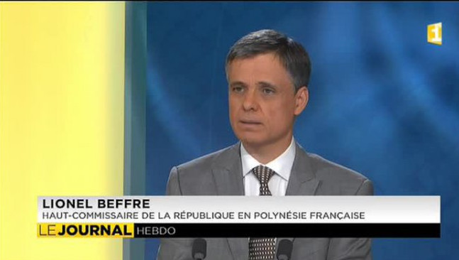 Le haut-commissaire Lionel Beffre, dimanche soir sur le plateau du journal télévisé de Première.