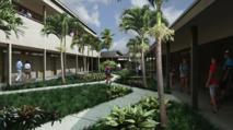 Une projection de l'aménagement paysager qui doit être réalisé au collège Tinomana Ebb qui ouvrira ses portes en août prochain.