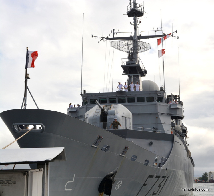 Le Prairial est la frégate de l'armée française basée à Tahiti.