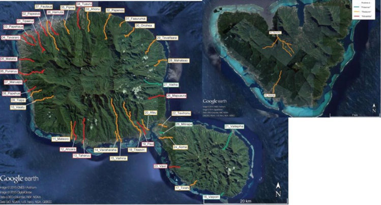 Les rivières de Tahiti et Moorea : en rouge les rivières dont l'état de santé est pauvre, en orange celles dont l'état de santé est moyen. En bleu, celles qui ont une santé excellente.