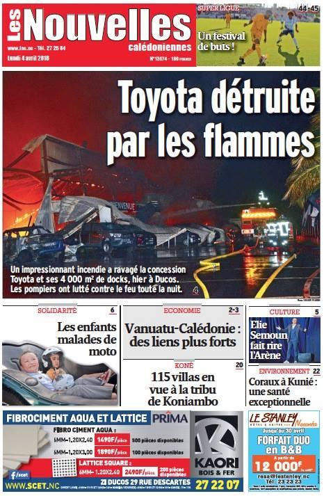 Un impressionnant incendie a ravagé une concession automobile à Noumea
