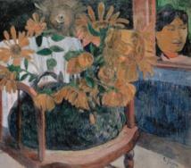 """""""Nature morte aux tournesols sur un fauteuil"""" tableau de Paul Gauguin (huile sur toile) datant de 1901. Ce tableau de 73x92cm est exposé au Musée de l'Hermitage à Saint-Pétersbourg (Russie)."""