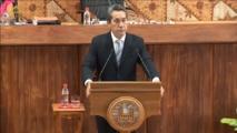 Marcel Tuihani à la tribune de l'assemblée de la Polynésie ce jeudi matin.