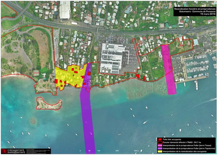 En jaune, sur cette vue, les terres qui font encore l'objet d'une revendication irrégulière selon TNAD.
