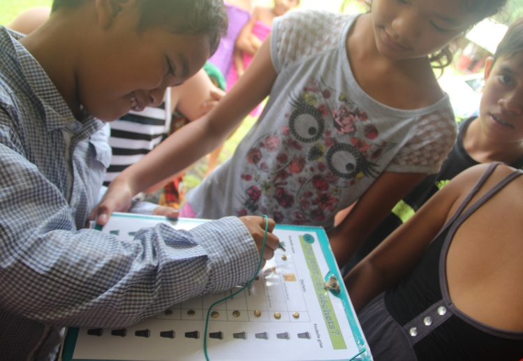 Parmi les projets lancés dans le cadre du programme Éco-écoles, des élèves ont conçu une boîte-quizz pour faire un état des lieux des connaissances en matière d'environnement, de tri sélectif,… Équipé d'une diode, la boîte s'allume ou non en fonction des réponses données.