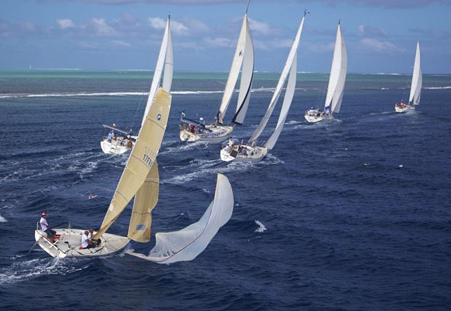 Pendant la Tahiti Pearl Regatta 2014 (Photo Bertrand Duquenne)